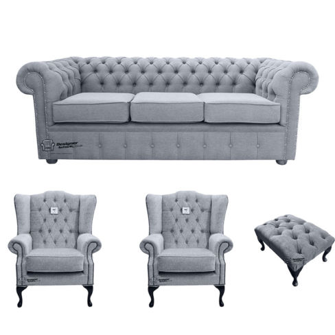 Chesterfield 3 Seater Sofa + 2 x Mallory Wing Chairs + Footstool Verity Plain Steel Fabric Sofa Suite Offer