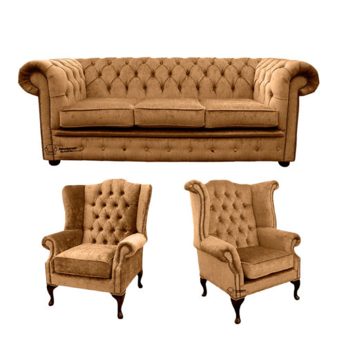 Chesterfield 3 Seater Sofa + 1 x  Mallory Wing Chair + 1 x Queen Anne Wing Chair Harmony Gold Velvet Sofa Suite Offer