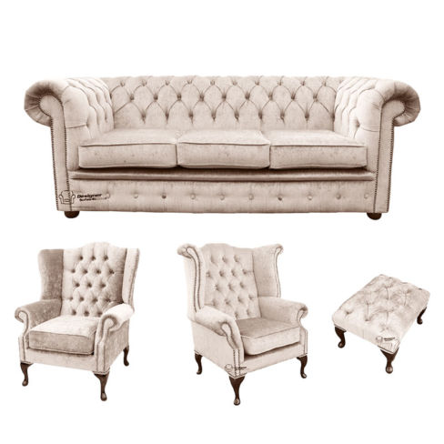 Chesterfield 3 Seater Sofa + 1 x  Mallory Wing Chair + 1 x Queen Anne Wing Chair + Footstool Harmony Ivory Velvet Sofa Suite Offer
