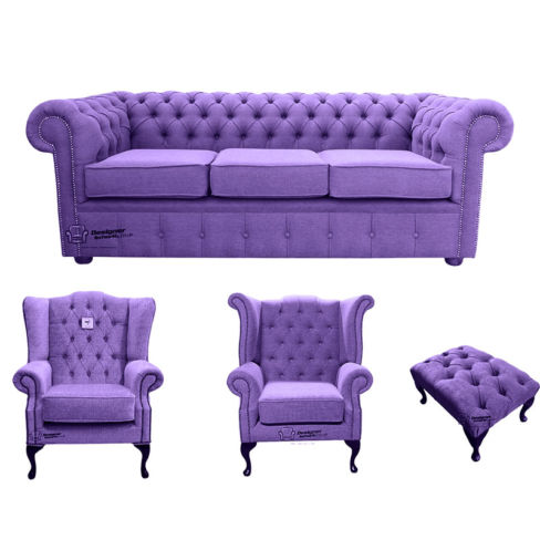 Chesterfield 3 Seater Sofa + 1 x  Mallory Wing Chair + 1 x Queen Anne Wing Chair + Footstool Verity Purple Fabric Sofa Suite Offer