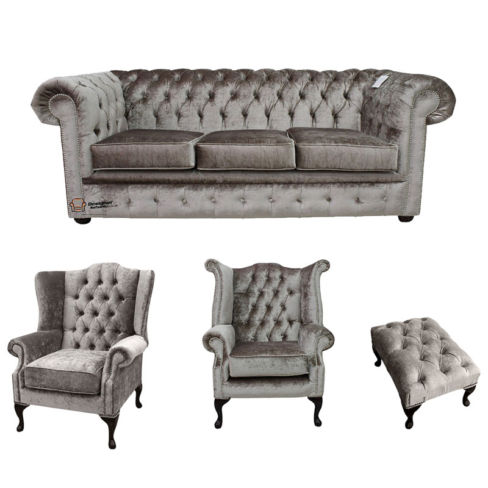 Chesterfield 3 Seater + Mallory Wing Chair + Queen Anne Chair + Footstool Boutique Beige Velvet Sofa Suite Offer