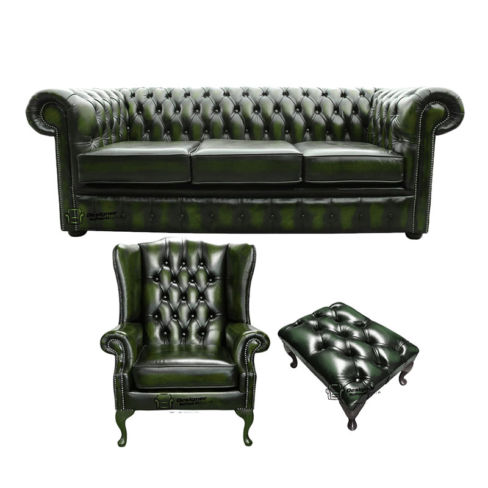 Chesterfield 3 Seater Sofa + Mallory Wing Chair + Footstool Leather Sofa Suite Offer Antique Green