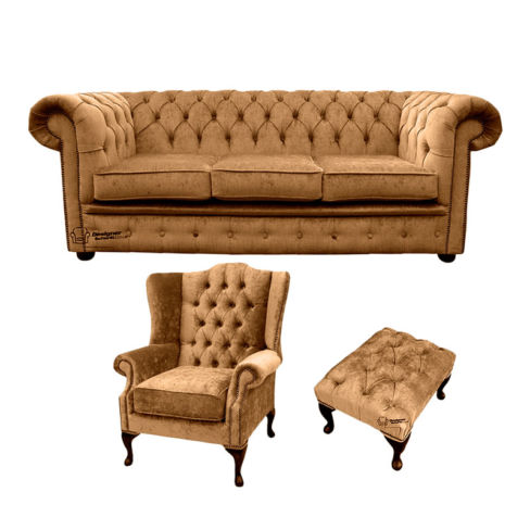 Chesterfield 3 Seater Sofa + Mallory Wing Chair + Footstool Harmony Gold Velvet Sofa Suite Offer