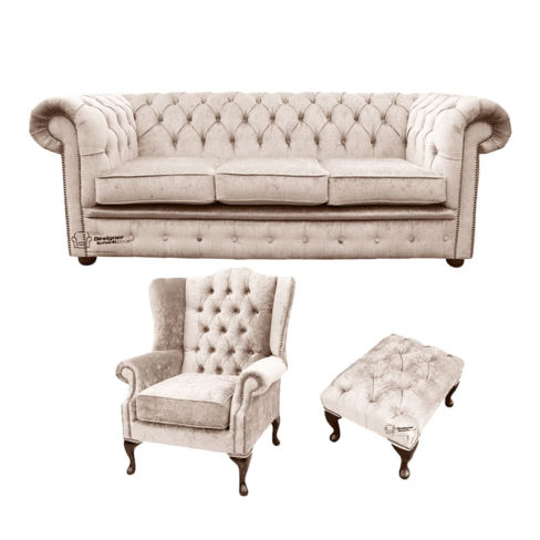 Chesterfield 3 Seater Sofa + Mallory Wing Chair + Footstool Harmony Ivory Velvet Sofa Suite Offer