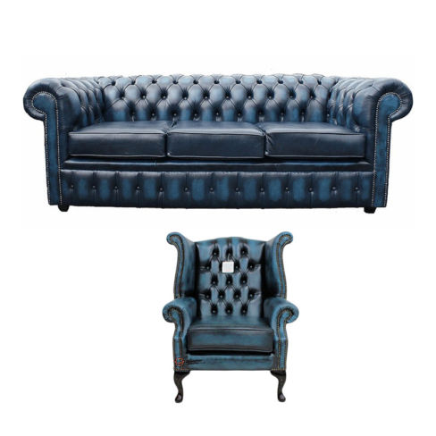 Chesterfield 3 Seater Sofa + Queen Anne Wing Chair Leather Sofa Suite Offer Antique blue