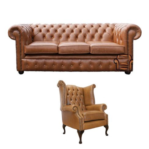 Chesterfield 3 Seater Sofa + Queen Anne Chair Old English Tan Leather Sofa Offer