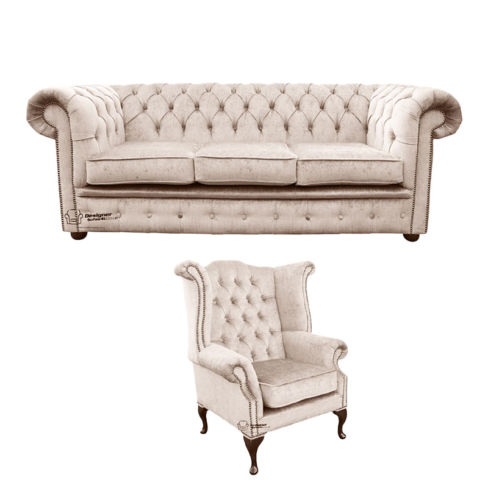 Chesterfield 3 Seater Sofa + Queen Anne Wing Chair Harmony Ivory Velvet Sofa Suite Offer