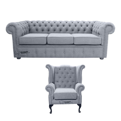 Chesterfield 3 Seater Sofa + Queen Anne Wing Chair Verity Plain Steel Fabric Sofa Suite Offer