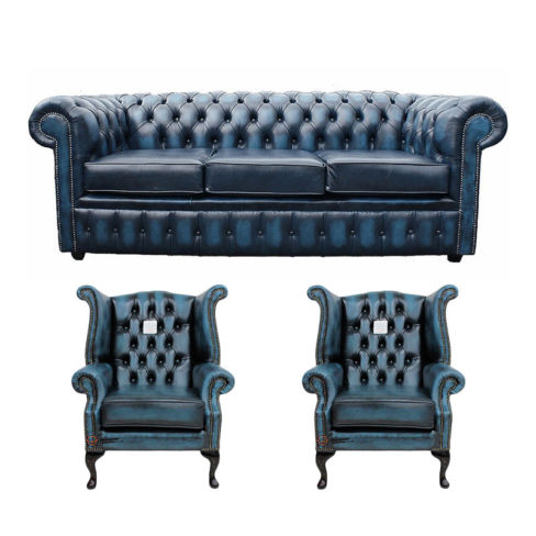 Chesterfield 3 Seater Sofa + 2 x Queen anne Chairs Leather Sofa Suite Offer Antique blue