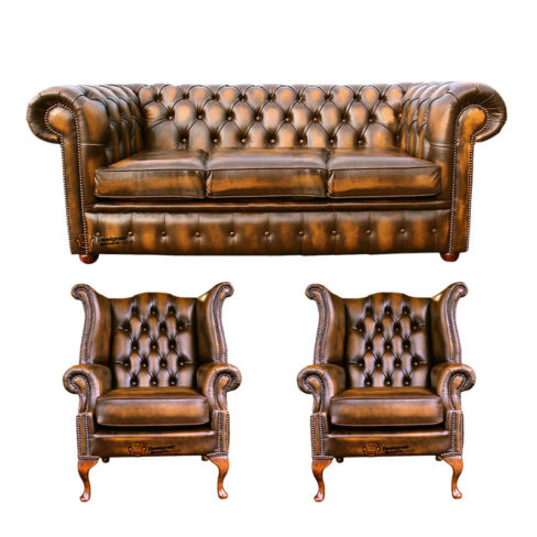 Chesterfield 3 Seater Sofa + 2 x Queen anne Chairs Leather Sofa Suite Offer Antique Gold