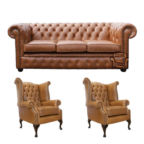 Chesterfield 3 Seater Sofa + 2 x Queen Anne Chairs Old English Tan Leather Sofa Offer