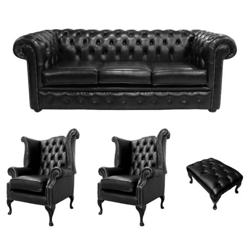 Chesterfield 3 Seater Sofa + 2 x Queen Anne Chairs + Footstool Old English Black Leather Sofa Offer