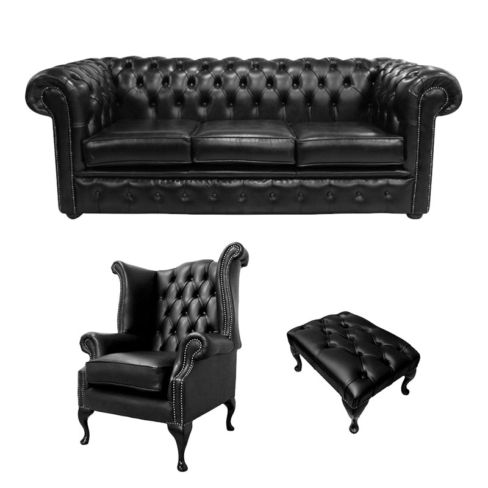 Chesterfield 3 Seater Sofa + Queen Anne Chairs + Footstool Old English Black Leather Sofa Offer