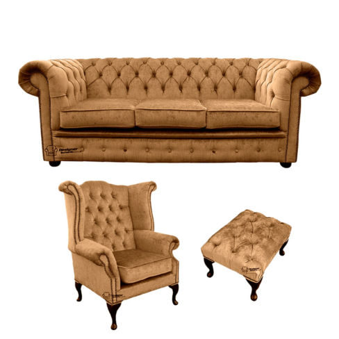 Chesterfield 3 Seater Sofa + Queen Anne Wing Chair + Footstool Harmony Gold Velvet Sofa Suite Offer