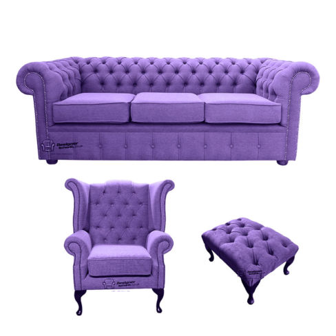 Chesterfield 3 Seater Sofa + Queen Anne Wing Chair + Footstool Verity Purple Fabric Sofa Suite Offer