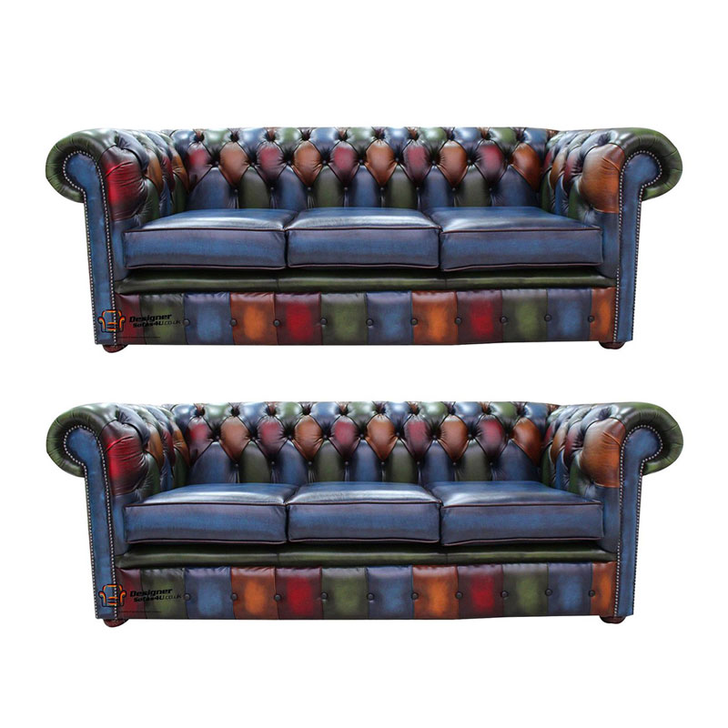 Chesterfield Patchwork Antique 3 Seater 3 Seater Leather Sofa Offer