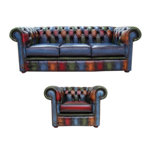 Chesterfield Patchwork Antique 3 Seater + Club chair Leather Sofa Offer