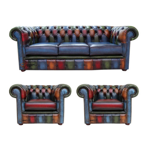 Chesterfield Patchwork Antique 3 Seater + 2 x Club Chairs Leather Sofa Offer