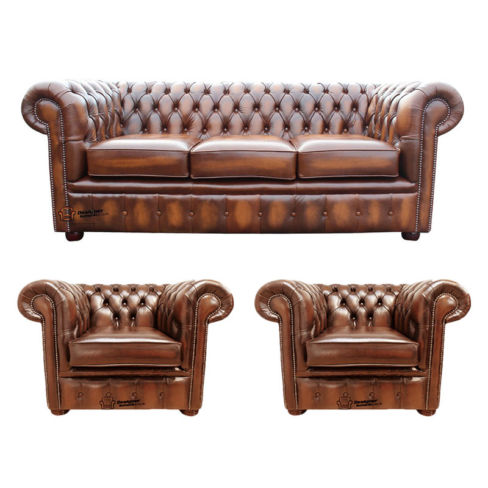 Chesterfield 3 Seater Sofa + 2 x Club Chairs Leather Sofa Suite Offer Antique Tan