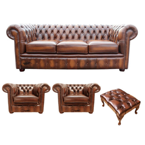Chesterfield 3 Seater Sofa + 2 x Club Chairs + Footstool Leather Sofa Suite Offer Antique Tan