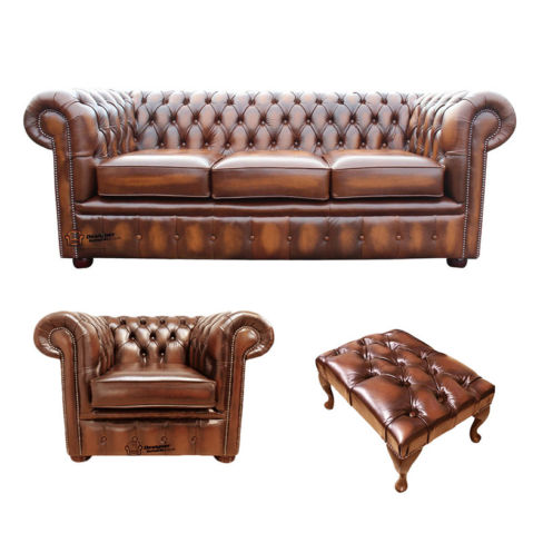 Chesterfield 3 Seater Sofa + Club Chair + Footstool Leather Sofa Suite Offer Antique Tan