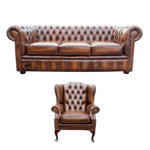 Chesterfield 3 Seater Sofa + Mallory Wing Chair Leather Sofa Suite Offer Antique Tan