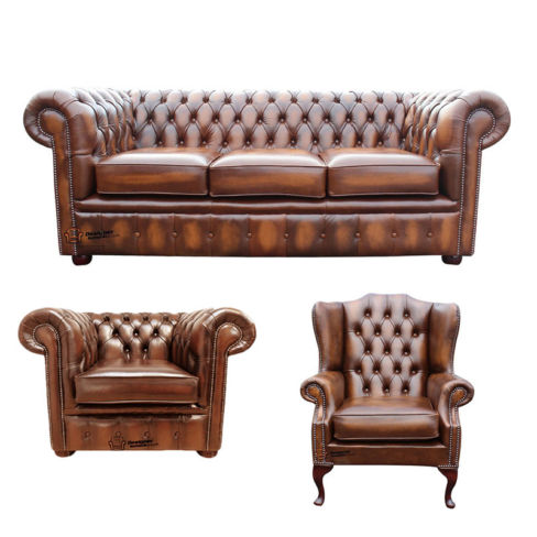Chesterfield 3 Seater Sofa + Club Chair + Mallory Wing Chair Leather Sofa Suite Offer Antique Tan