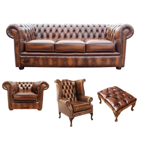 Chesterfield 3 Seater Sofa + Club Chair + Queen Anne Wing Chair + Footstool Leather Sofa Suite Offer Antique Tan