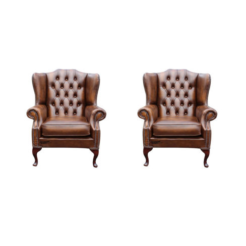 Chesterfield 2 x Mallory Wing Chair Leather Sofa Suite Offer Antique Tan