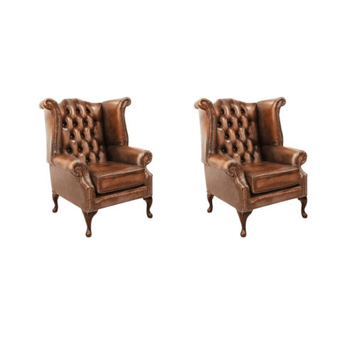 Chesterfield 2 x Queen Anne Chairs Leather Sofa Suite Offer Antique Tan