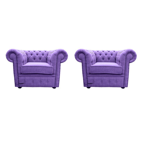 Chesterfield 2 x Club chairs Verity Purple Fabric Sofa Suite Offer