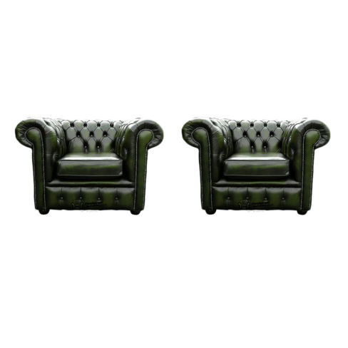 Chesterfield 2 x Club Chairs Leather Sofa Suite Offer Antique Green