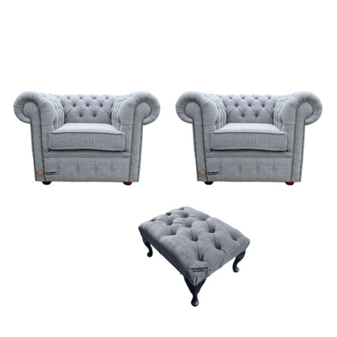 Chesterfield 2 x Club chairs + Footstool Verity Plain Steel Fabric Sofa Suite Offer