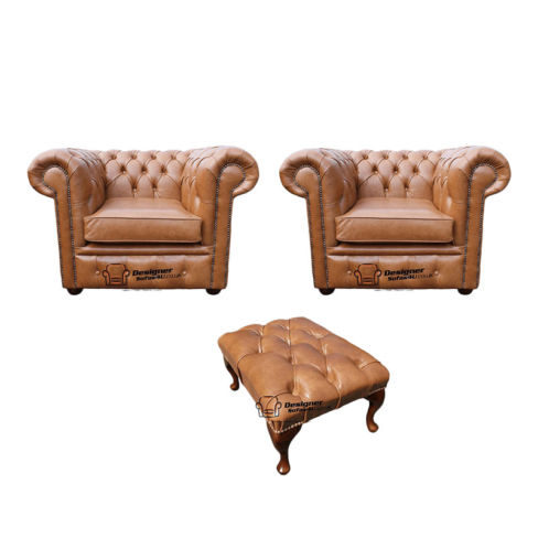 Chesterfield 2 x Club Chairs + Footstool Old English Tan Leather Sofa Offer