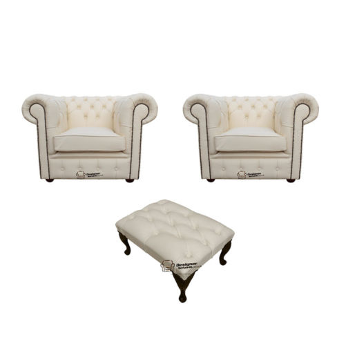Chesterfield 2 x Club Chairs + Footstool Leather Sofa Suite Offer Ivory