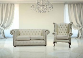 Buy Chesterfield 2 seater with Queen Anne chair set | Finance Available | DesignerSofas4U