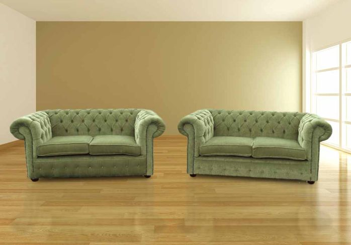 Chesterfield 2+2 Seater Sofa Settee Sage Green Fabric Suite Offer