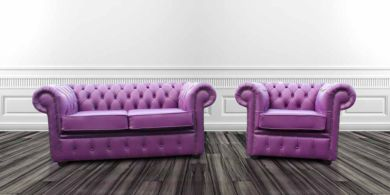 Chesterfield 2 Seater + 1 Seater Club Chair Wineberry Purple Leather Sofa Offer