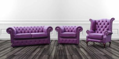 Chesterfield 2 Seater + Club Chair + Queen Anne High Back Wing Chair Wineberry Purple Leather Suite