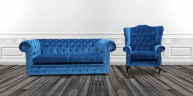 Chesterfield 2 Seater + Flat Wing Armchair Velluto Royal Blue Fabric Sofa Offer