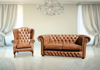 Chesterfield 2 Seater Settee + Wing Chair Old English Tan Leather Sofa Suite Offer