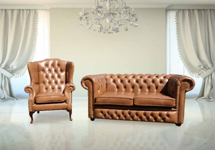 Buy Chesterfield 2 Seater and Mallory Wing chair | Old English Tan Leather|DesignerSofas4U