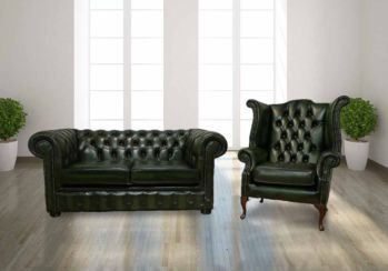 Chesterfield 2 Seater Sofa Settee+ Queen Anne Wing Armchair Antique Green Leather Sofa Offer