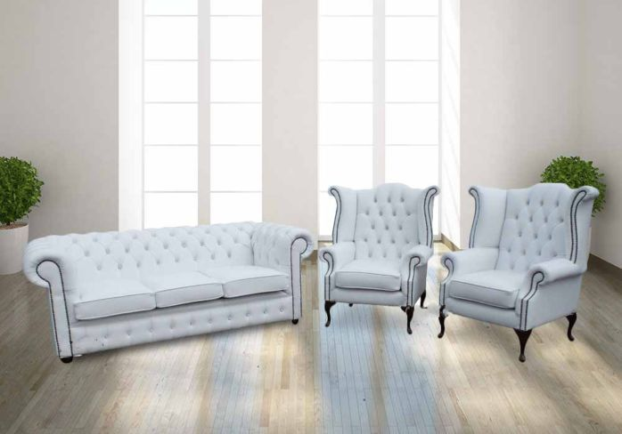 Chesterfield 3+1+1 Crystal Diamond White Leather Sofa Offer