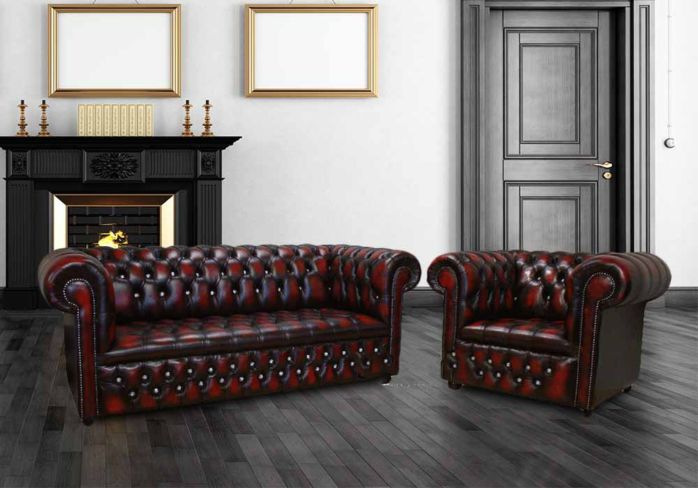 Chesterfield 3+1 Crystal Diamond Leather Sofa Offer Antique Oxblood