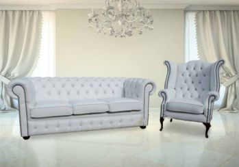 Chesterfield 3+1 Crystal Diamond White Leather Sofa Offer