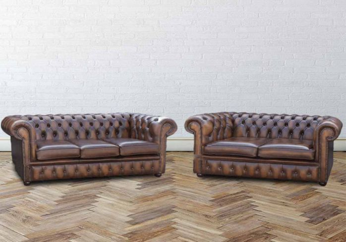 Buy Orignal 3 + 2 Chesterfield Sofa Antiqued Tan Leather|Sofa Sale|DesignerSofas4U
