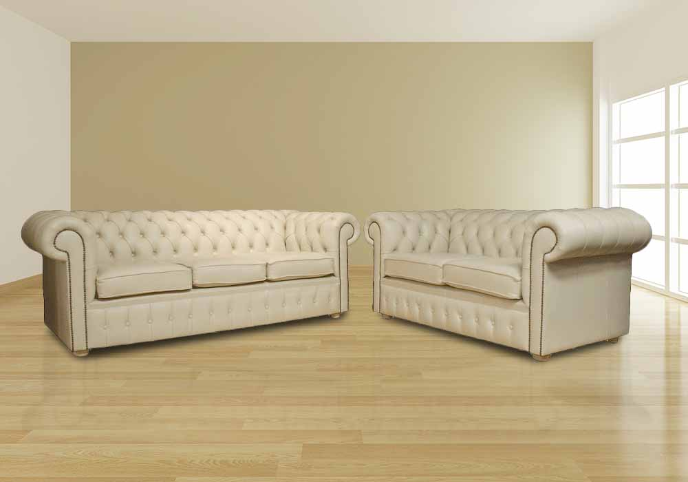 Details about Chesterfield Luxury 3+2 Sofa Suite Cream Real Leather British  Handmade Couch