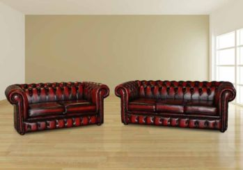 Chesterfield 3+2 Leather Sofa Offer antique oxblood