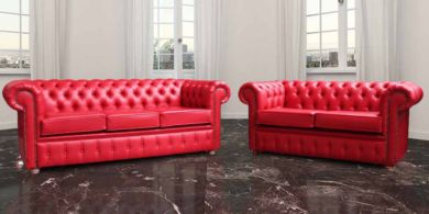 Chesterfield 3+2 Red Faux Leather Sofa Offer